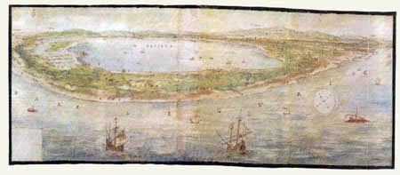 Anton van der  Wyngaerde (Wijngaerde) - La lagune de Valence