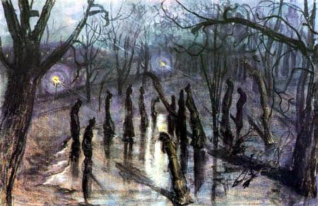 Stanisław Wyspiański - Le Planty de Cracovie la nuit