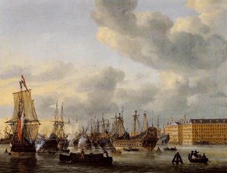 Reinier Zeemann - Schiffe im Hafen von Amsterdam