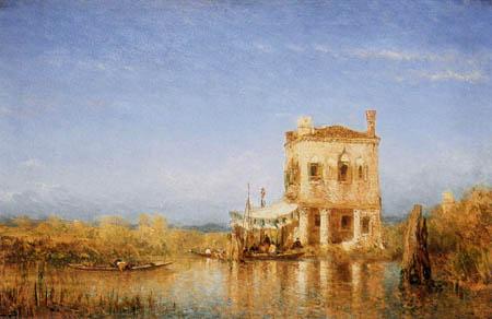 Félix François G. P. Ziem - Maison de pêcheurs dans la lagune vénitienne