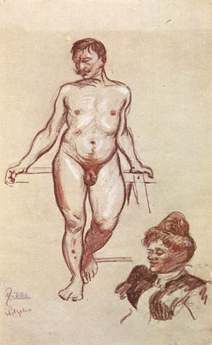 Heinrich Zille - Nude drawing