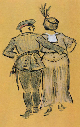 Heinrich Zille - Soldier with woman