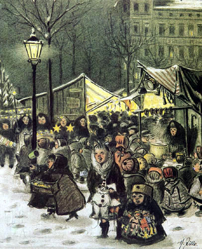 Heinrich Zille - Christmas market on the Arkonaplatz
