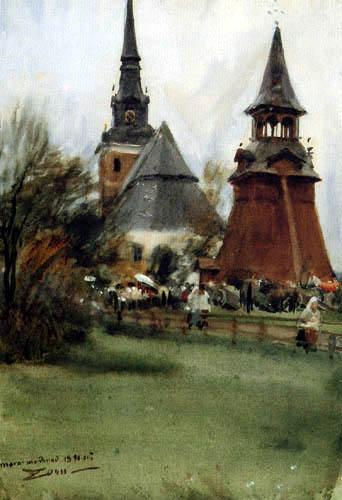 Anders Leonhard Zorn - Mora: Jahrmarkt, Kirche und Glockenturm