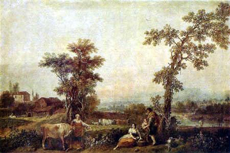 Francesco Zuccarelli - Landschaft mit Frauen und Kühen