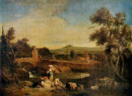 Francesco Zuccarelli - Landschaft mit Kühen am Fluß