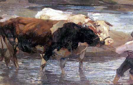 Heinrich Johann von Zügel - Ochsen im Wasser