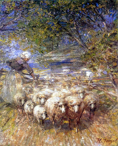 Heinrich Johann von Zügel - Shepherdess with flock