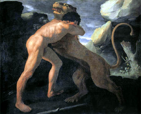 Francisco de Zurbarán - Herkules kämpft mit dem nemeischen Löwen