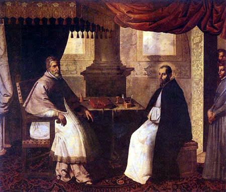Francisco de Zurbarán - Pope Urbano II in conversation with San Bruno