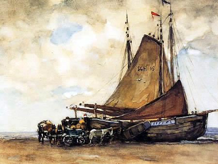 Willem de Zwart - A Bomschuit on Scheveningen Beach